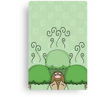 Cute Monster With Green Frosted Cupcakes Canvas Print