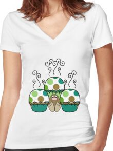 Cute Monster With Green And Brown Polkadot Cupcakes Women's Fitted V-Neck T-Shirt