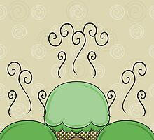 Cute Monster With Green And Yellow Frosted Cupcakes by mydeas