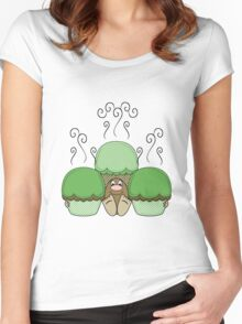 Cute Monster With Green And Yellow Frosted Cupcakes Women's Fitted Scoop T-Shirt