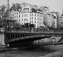 PARIS, SEINE RIVER BLACK AND WHITE by Bolshie