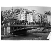 PARIS, SEINE RIVER BLACK AND WHITE Poster