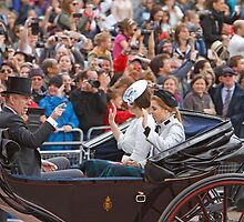 Princess Beatrice,Eugenie & Prince Andrew on their way to Trooping The Colour by Keith Larby