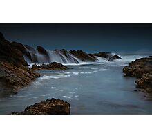 Wet Rocks, Stormy Sky Photographic Print
