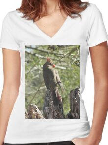 Female Northern Cardinal Glamour Shot Women's Fitted V-Neck T-Shirt