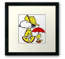 Raining Snoopy and Woodstock Framed Print