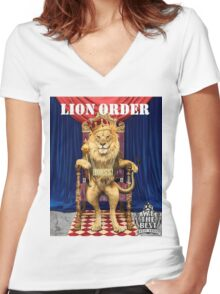 Dj Khaled Lion Order parody  Women's Fitted V-Neck T-Shirt