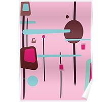 Retro Abstract In Pinks Poster