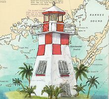 Key Largo Lighthouse FL Nautical Chart Art Cathy Peek by Cathy Peek
