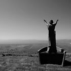New statue of Manannan Mac Lir sea Lord, son of Lir God of the Sea statue on top of Binevenagh Mountain by Sarah Cowan