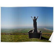 Colour Photo of  Manannan Mac Lir sea Lord, son of Lir God of the Sea statue, Binevenagh Mountain Poster