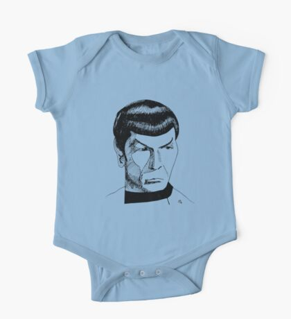 Spock Ink Drawing in Black One Piece - Short Sleeve