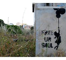 Free your soul - Banksy? by Sarah Cowan