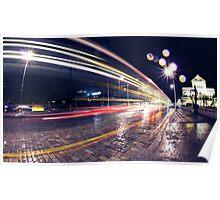 Night Traffic Lights Poster