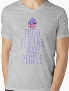 food is better than people - cupcake #2 Mens V-Neck T-Shirt