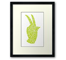 Life Force Hand in Bright Yellow Lime Framed Print