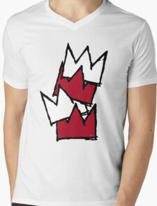 Stacked Crowns - Red Mens V-Neck T-Shirt