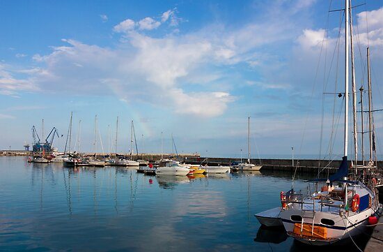 Sunny day in Balchik Harbor with a Colorful Rainbow by kirilart