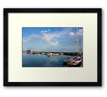 Sunny day in Balchik Harbor with a Colorful Rainbow Framed Print