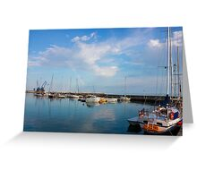 Sunny day in Balchik Harbor with a Colorful Rainbow Greeting Card