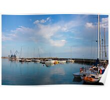 Sunny day in Balchik Harbor with a Colorful Rainbow Poster
