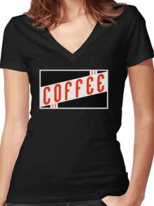 vintage coffee Women's Fitted V-Neck T-Shirt