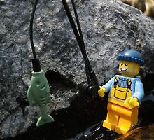 Fisherman in the Rocks by Shauna  Kosoris