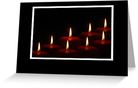 Christmas card with tealight candles by Cheryl Hall