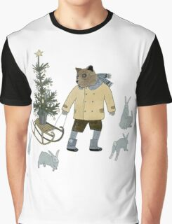 Bear, Christmas Tree and Bunnies Graphic T-Shirt