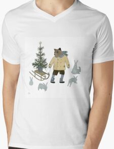 Bear, Christmas Tree and Bunnies Mens V-Neck T-Shirt