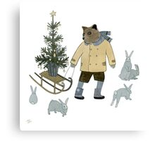 Bear, Christmas Tree and Bunnies Canvas Print