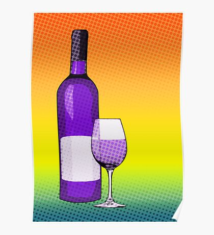 comic glass of wine Poster