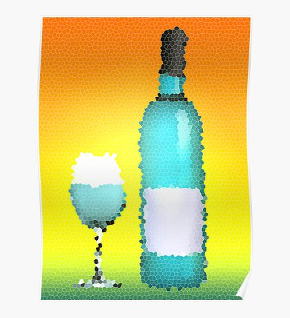 stained glass bottle of wine Poster