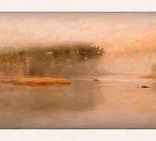 Lifting Fog, Sheepscot Reversing Falls, Maine by Dave  Higgins