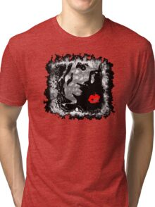 Black and White model with Red Kiss Tri-blend T-Shirt