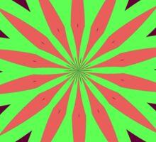 Tropical kaleidoscopic flower red, green, deep cerise Sticker