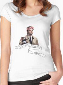 Somebody help Castiel Women's Fitted Scoop T-Shirt