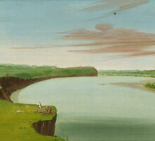 George Catlin - Distant View of the Mandan Village by TilenHrovatic
