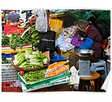 market scene in Hong Kong lady selling fruit and vegetables Poster