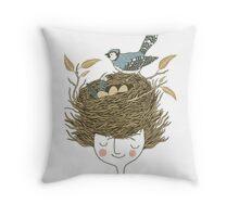Bird Hair Day Throw Pillow