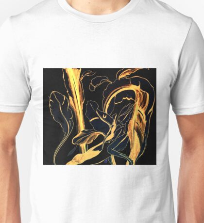 Plant in Blue Marker - Leaf of Life Miracle Leaf - Black and Gold Unisex T-Shirt