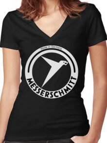 Messerschmitt Aircraft Company Logo (White) Women's Fitted V-Neck T-Shirt