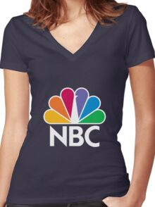 NBC Logo - White Women's Fitted V-Neck T-Shirt