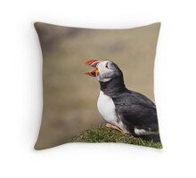 Puffin Chirping in Scotland's Islands Throw Pillow