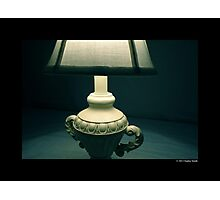 White Vintage Table Lamp  Photographic Print