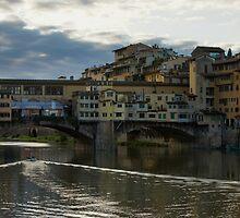 Light Trails on the Arno - Florence, Italy by Georgia Mizuleva