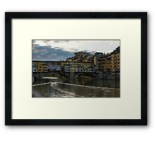 Light Trails on the Arno - Florence, Italy Framed Print