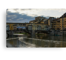 Light Trails on the Arno - Florence, Italy Canvas Print