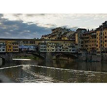 Light Trails on the Arno - Florence, Italy Photographic Print