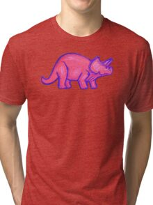 Pink Triceratops  Tri-blend T-Shirt